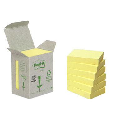 6BL100 notas Post-it recicladas amarillas 38 x 51 mm.