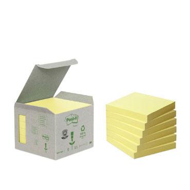 6BL100 notas Post-it recicladas amarillas 76 x 76 mm.