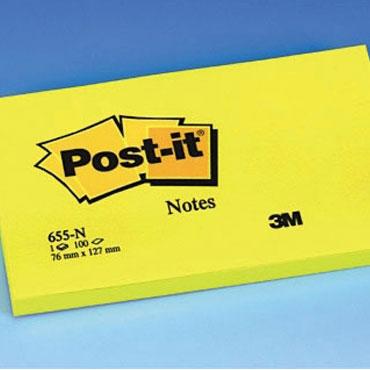 BL100 notas Post-it amarillas neón 76 x 127 mm.