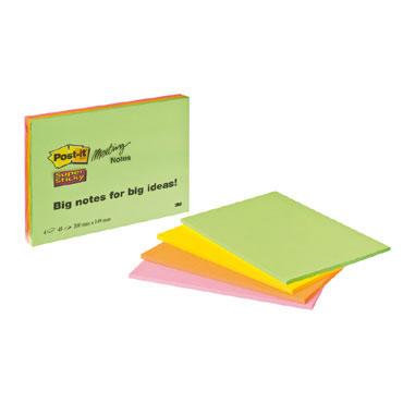 4 blocs de notas Post-it 203x152 mm. Super Sticky 6845-SSP