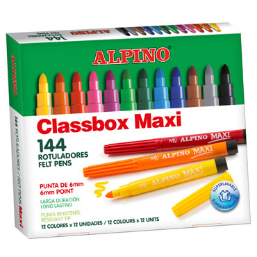 144 rotuladores de color Maxi Alpino AR000109