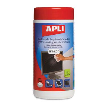 100 toallitas limpieza pantalla Apli 11302