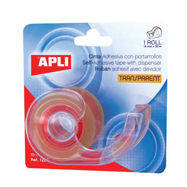 Cinta adhesiva transparente 19 mm. x 33 m. con dispensador Apli 12094