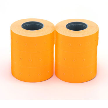 6 rollos etiqueta  manual 21x12 mm. naranja Apli