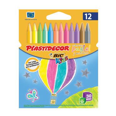 12 ceras Plastidecor pastel y metálicas 9339611