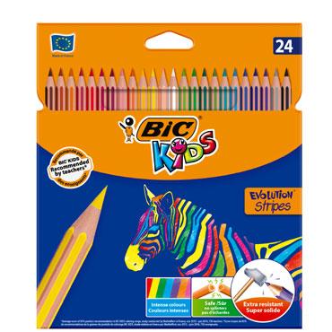 24 lápices de color Evolutio Stripes BIC 950522