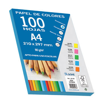 100 hojas papel azul intenso 80 g/m² Din A-4 Dohe 30168