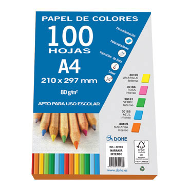 100 hojas papel naranja intenso 80 g/m² Din A-4 Dohe 30169