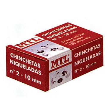 Caja 100 chinchetas niqueladas número 2 MTL 79217