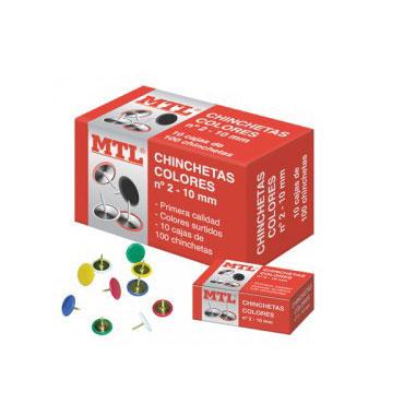 Caja 100 chinchetas colores número 2 MTL 79218