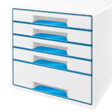 Buc 5 cajones WOW blanco / azul Leitz
