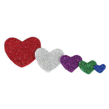 59 corazones de EVA adhesivas purpurina Fixo 68002500