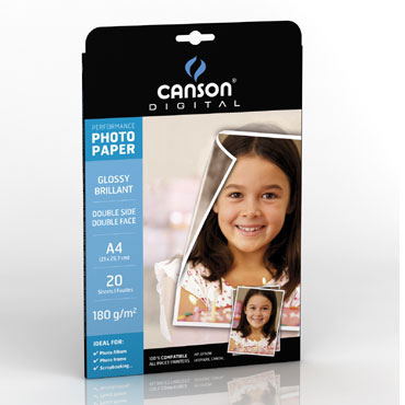 20HJ papel Glossy Performance 180g/m² 2caras A-4 Canson
