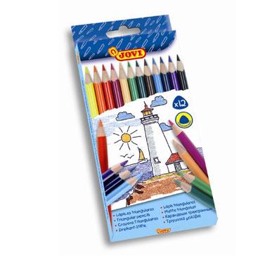 12 lápices color triangulares Jovi 733/12