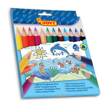 12 lápices color triangulares Maxi Jovi 735/12