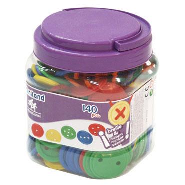 140 botones ensartables y 10 cordones Miniland 31715