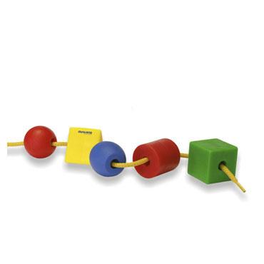 100 formas ensartables y 10 cordónes Miniland 31752