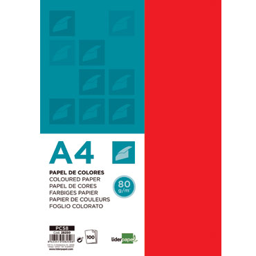 100 hojas papel color rojo 80 g/m² Din A-4 Liderpapel 28250