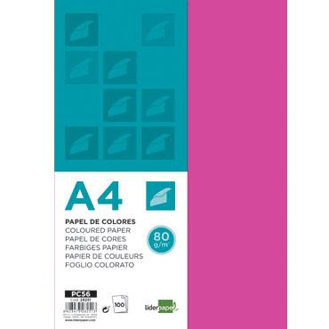 100 hojas papel color fucsia80 g/m²  Din A-4 Liderpapel 28251