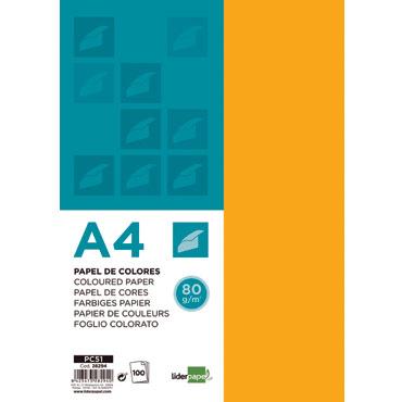 100 hojas papel color naranja 80 g/m² Din A-4 Liderpapel 28294