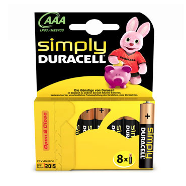 BL8 pilas alcalinas Duracell Simply LR03/AAA