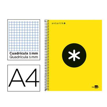 Cuaderno espiral A4 120HJ c/5 amarillo flúor Antartik Liderpapel