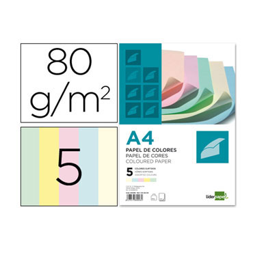 100HJ papel 5 colores 80 g/m² Din A-4 Liderpapel 80098