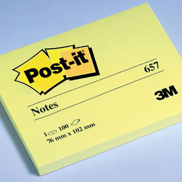 BL100 notas Post-it amarillas 76 x 102 mm. 657