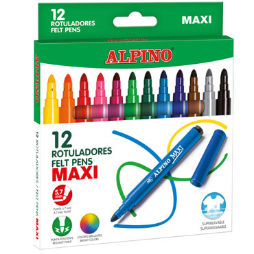 12 rotuladores de color Maxi Alpino AR000006