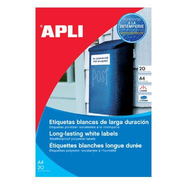 Etiqueta adhesiva intemperie 210x297 mm. 20HJ Din A-4 (20U) Apli 01228