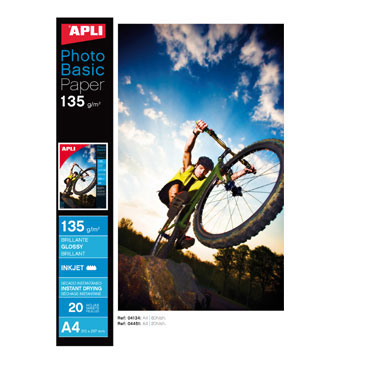 Papel glossy HIGH BRIGHT 135 g/m² 20HJ Din A-4 Apli 04451