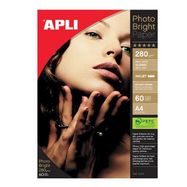 Papel PHOTO BRIGHT 280 g/m² 60HJ Din A-4 Apli 10413