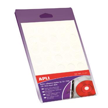 35 botones adhesivos CD blancos Apli 11671
