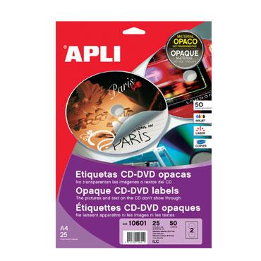 Etiqueta CD MEGA ø117 /18 mm. 100HJ Din A-4 (100U) Apli 11704