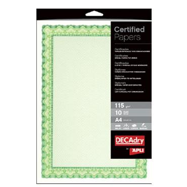 Papel diploma verde 10HJ Din A-4 115 g/m² Apli 11969