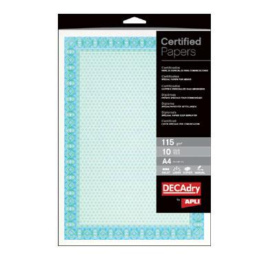 Papel diploma azul 10HJ Din A-4 115 g/m² Apli 11970