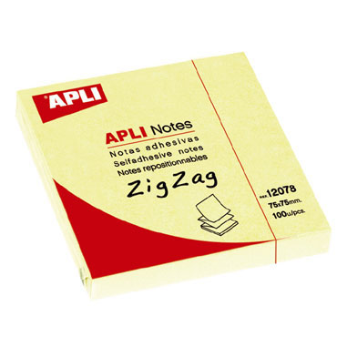 BL100 notas adhesivas amarillas zig-zag 75x75 Apli 12078