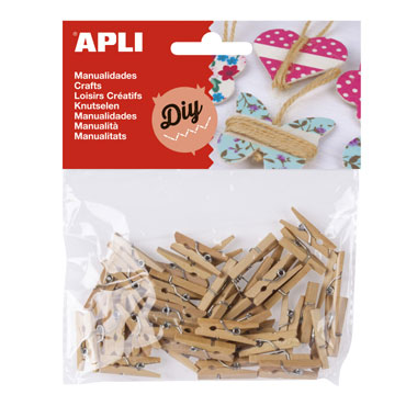 45 minipinzas madera neutra 25x3 Apli 13478