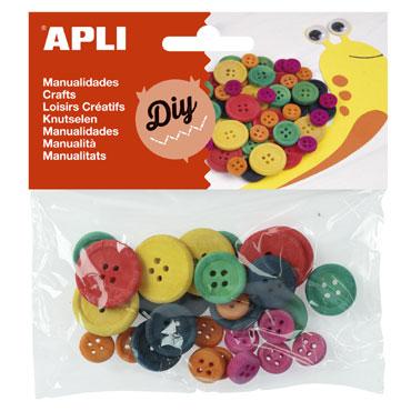 Bolsa 30 botones madera Apli 13481