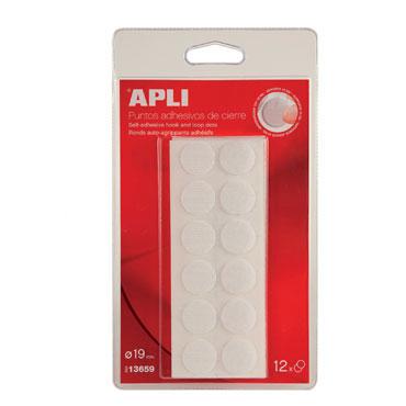 Punto de velcro ø 19 mm. adhesivo blanco Apli 13659