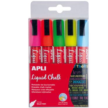 5 rotuladores tiza redondos colores surtidos Apli 13959