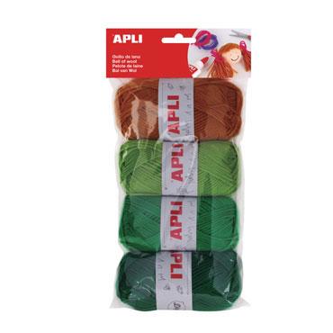 4 ovillos de lana colores Apli 14090