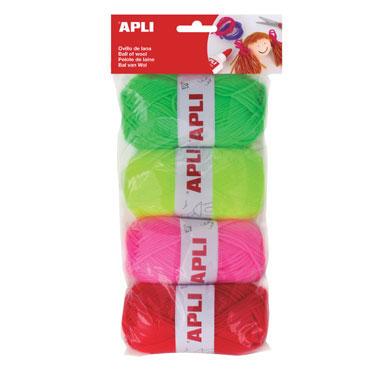 4 ovillos de lana colores Apli 14093
