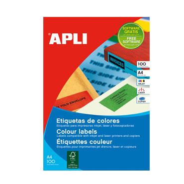 Etiqueta adhesiva roja 105x148 mm. 20HJ Din A-4 (40U) Apli 12993