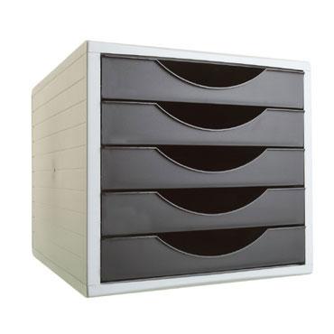 Módulo 5 cajones ArchivoTec 4000 gris/negro Archivo 2000 4005NE