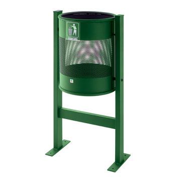 Papelera exterior P-61 verde Cilindro P61-VE