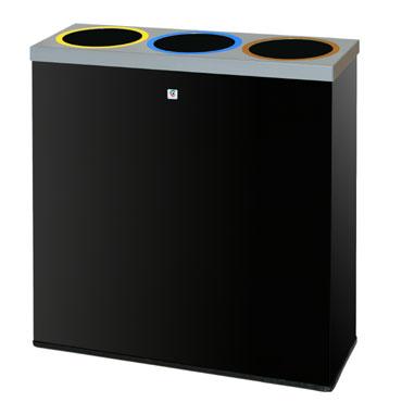 Papelera reciclaje P-77 negra Cilindro P77-NE