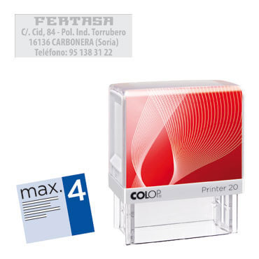 Printer 20 4 líneas personalizables 38x14 mm. Colop PR.20