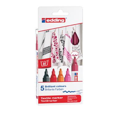 5 marcadores edding Textile 4500 colores cálidos 4500-5S-999