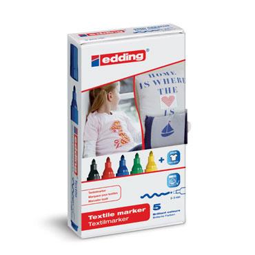 5 marcadores edding Textile 4500 colores básicos 4500-5S